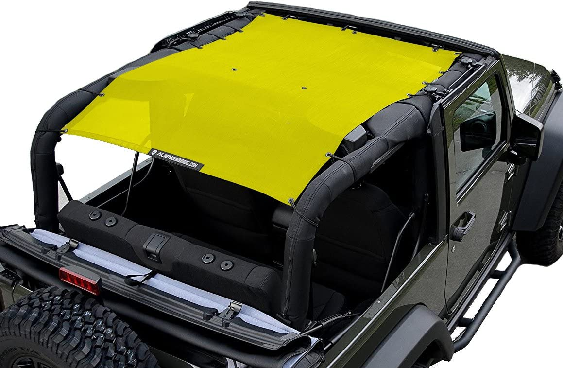 Burnt Orange ALIEN SUNSHADE 2-Door Jeep Wrangler Mesh Shade Top Cover with 10 Year Warranty Provides UV Protection for Your JK 2007-2017