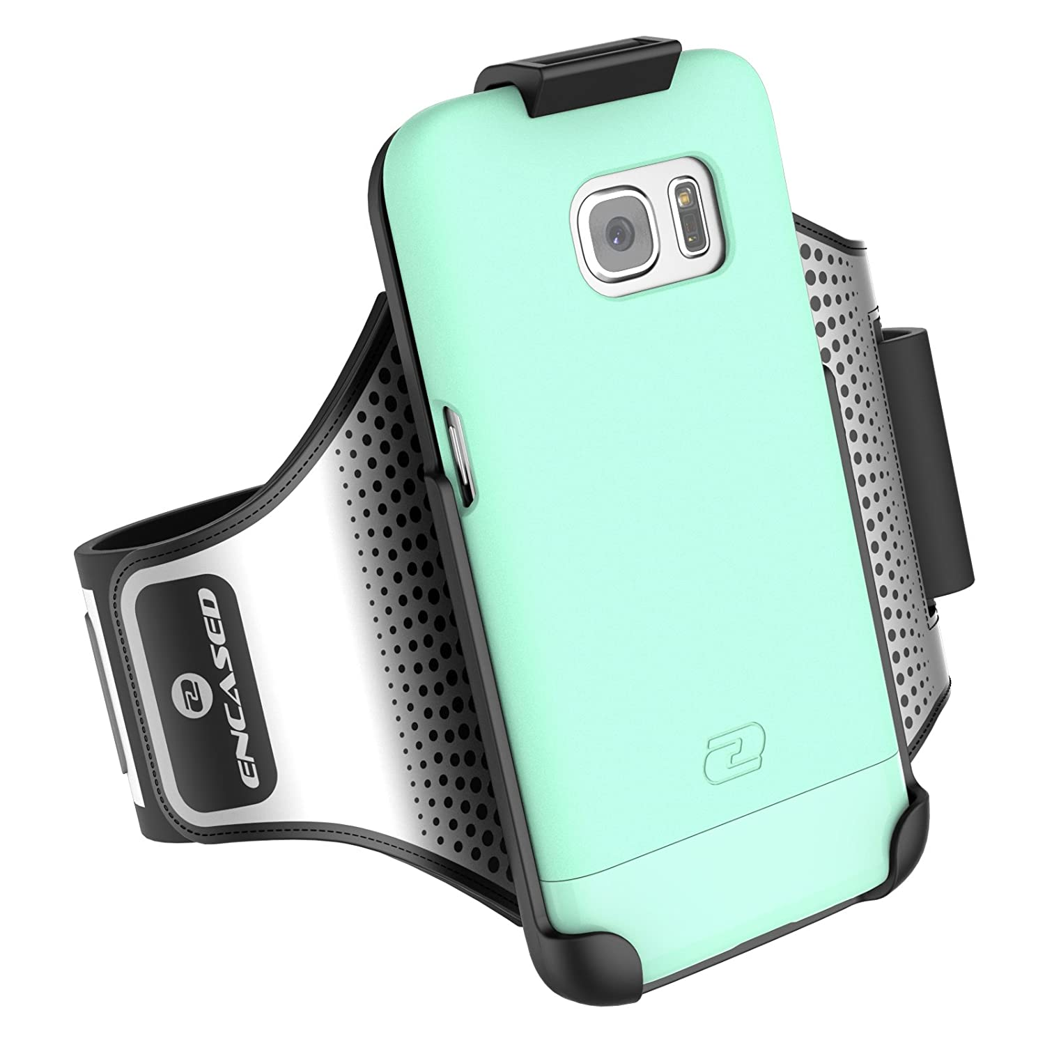 Galaxy S7 Edge Armband & Sport Case (2 pc set) includes Encased Click-N-Go Arm Band + Hybrid Cover (Mint Green)