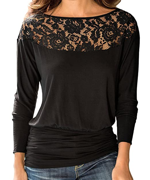 4f4287aa85863 K Women s Long Sleeve Blouse Lace Boat Neck Ruched Banded Bottom Tops at  Amazon Women s Clothing store