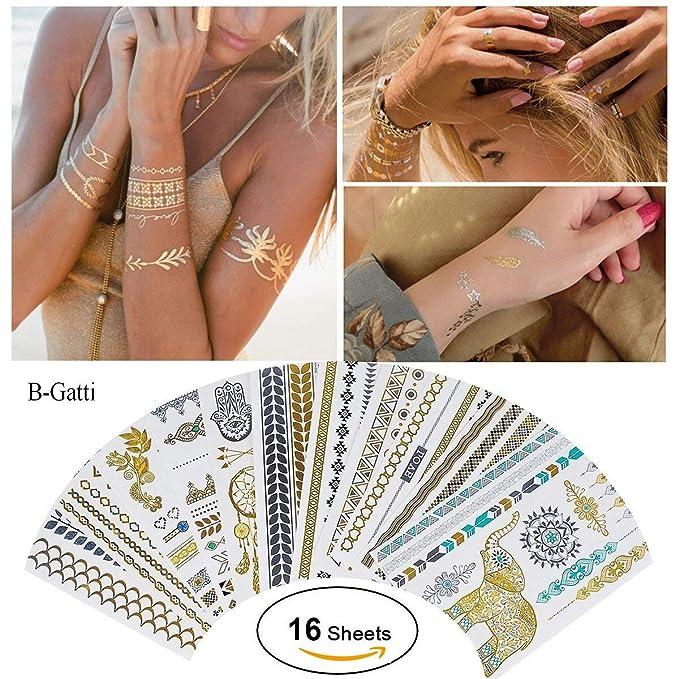 2 opinioni per 16 Sheets Premium Metallic Henna Tattoos Temporary Metallic Tattoos Flash