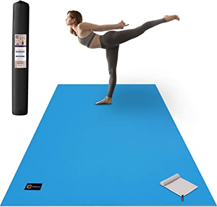 Cambivo Large Yoga Mat 6 X 4 X 1 3 Inch Extra Thick Comfortable Non