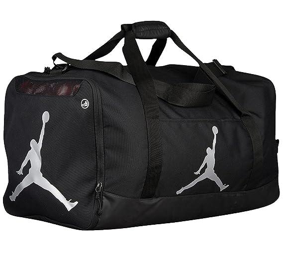 Nike Air Jordan Jumpman Duffel Sports Gym Bag Black/Silver 8A1913-023 Wet/Dry Shoe Pocket Water Resistant