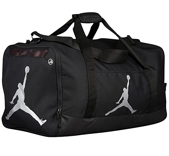 c058b1665fb Image Unavailable. Image not available for. Color: Nike Air Jordan Jumpman Duffel  Sports Gym Bag Black/Silver ...