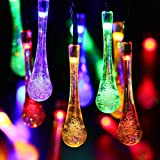 Easternstar Solar Outdoor String Light 19.6ft 30 LED Fairy Water Drop Rope Waterproof Light for Christmas Halloween Decoration Patio Home Garden Wedding Party(Multi Color)
