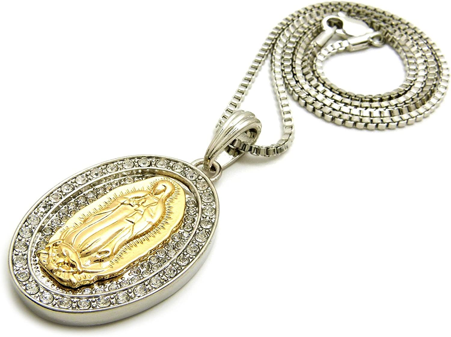 2mm 24 Box Chain Fashion21 Iced Out 2 Tone Virgin Mary Pendant 24 Various Chain Necklace in Silver Tone