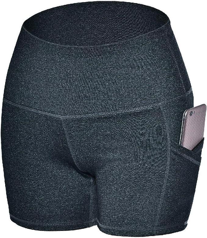 YOMXL Shorts Bike Running Yoga Hidden Pockets - Womens Tummy Control Fitness Athletic Workout Running Yoga Shorts