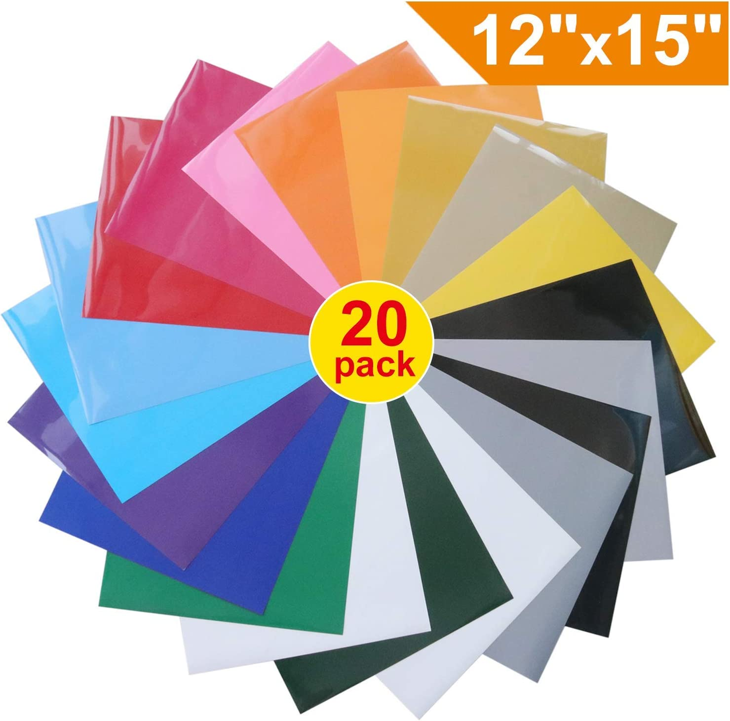Heat Transfer Vinyl for T-Shirts 18 Assorted Colors 12x 12 Sheets Iron On HTV for Cricut and Silhouette Cameo 20 Pack