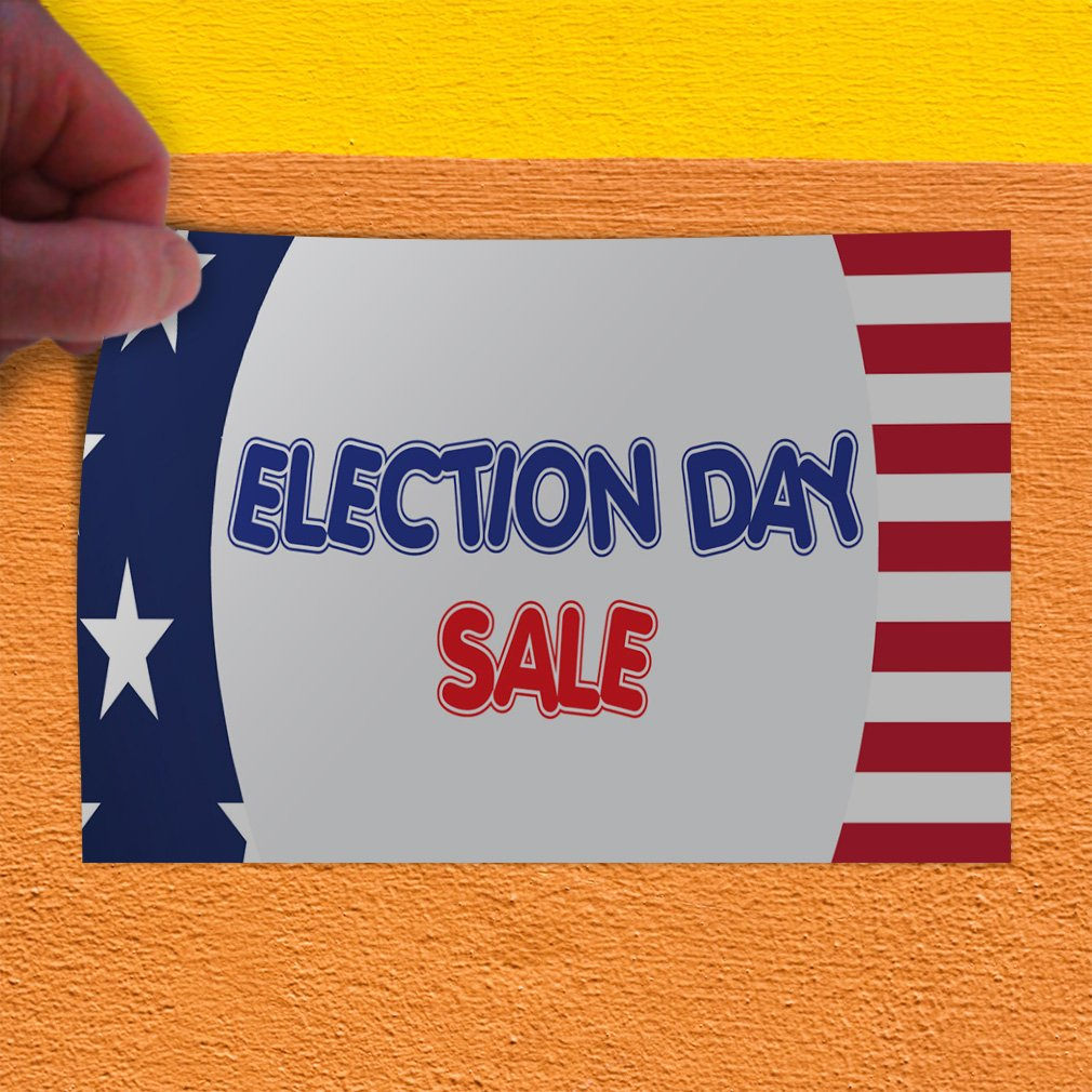 Set of 5 54inx36in Decal Sticker Multiple Sizes Election Day Sale Business American Flag Outdoor Store Sign White