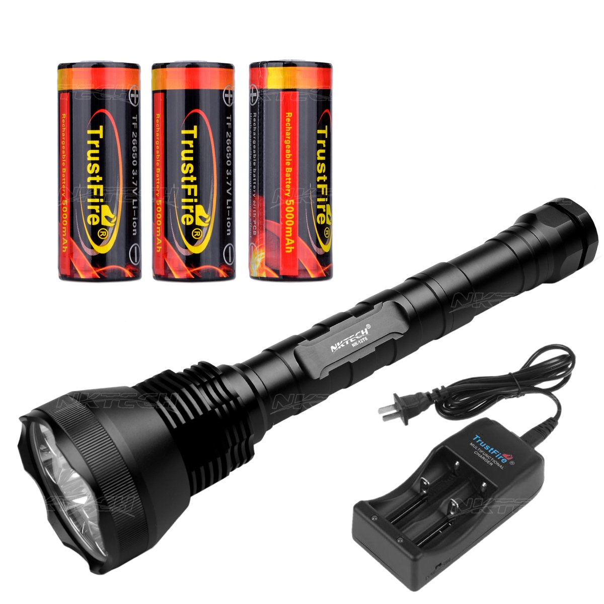 Nktech Outdoor Ultra Bright nk-12t6 12 x T6 LED 13800 Lumen Taschenlampe Lampe mit verlängerter Tube und 3 x Trustfire 26650 5000 mAh Akku mit pcb geschützt Board + tr-006 Dual Slot Ladegerät
