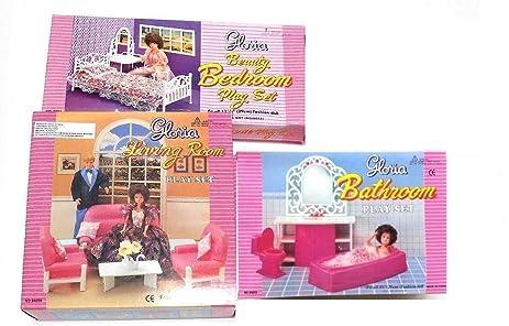 Amazon.com: Gloria:Barbie Doll House Furniture -(Set of 3)- Living ...