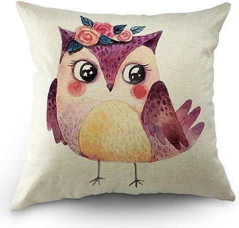 18in Cute Owl Cotton Linen Throw Pillow Case Sofa Cushion Cover Home Decoration