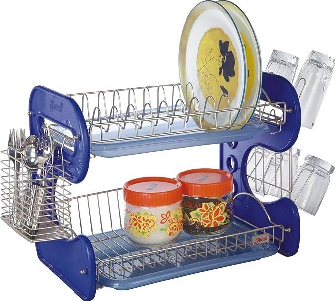 Amol Stainless Steel Kitchen Rack  Dish Rack Medium Tableware 12 Dish 6 Glass