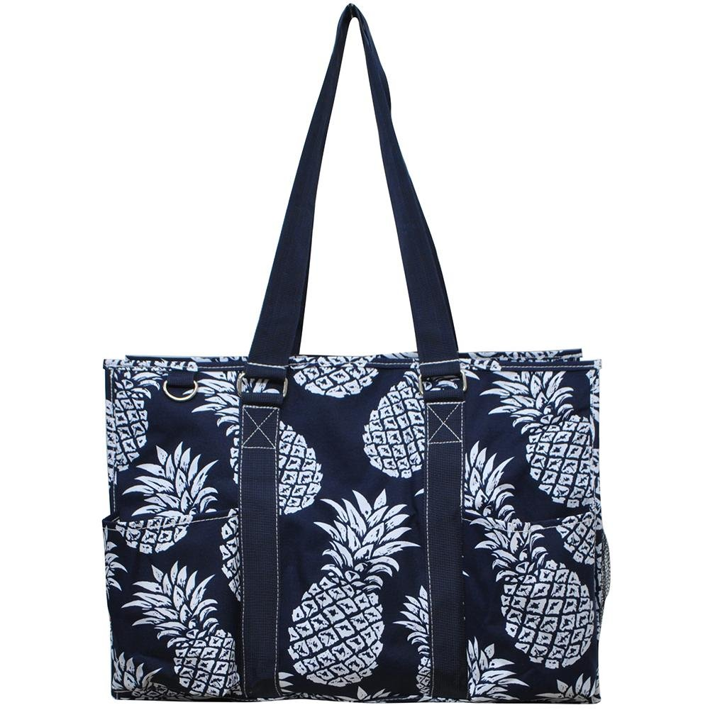 N. Gil All Purpose Organizer 18'' Large Utility Tote Bag 2 (Southern Pineapple Navy Blue)