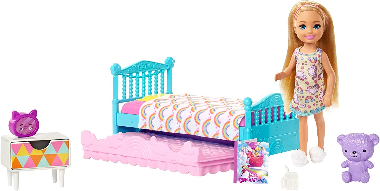 Amazon Com Barbie Club Chelsea Toy 6 Inch Blonde Doll And Bedroom Playset With Working Trundle Bed Nightstand With Drawer Teddy Bear And More Gift For 3 To 7 Year Olds Amazon Exclusive Toys