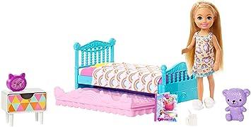 Mini Une Avec Chelsea Barbie Et Chambre Coffret Du Poupée Heure À Composée Famille Blonde Pour Coucher EnfantFxg83 AccessoiresJouet 8vmN0wn