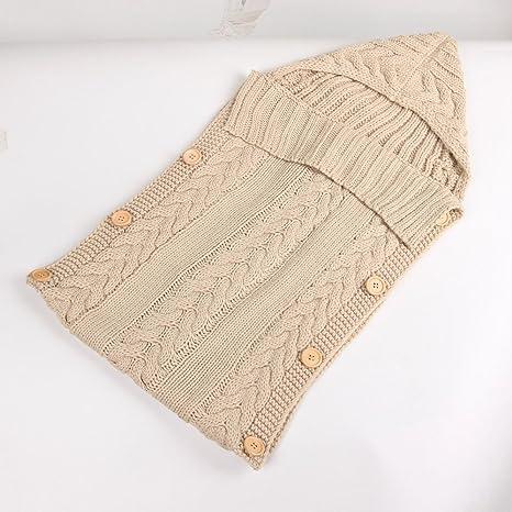 Saco de dormir para bebé recién nacido, manta de punto de ganchillo de invierno con