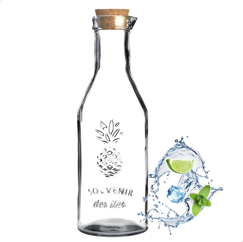 Karaffe Glaskaraffe Glas Wasserkaraffe aus Glas Saftkaraffe Dekanter 1000ml 1L