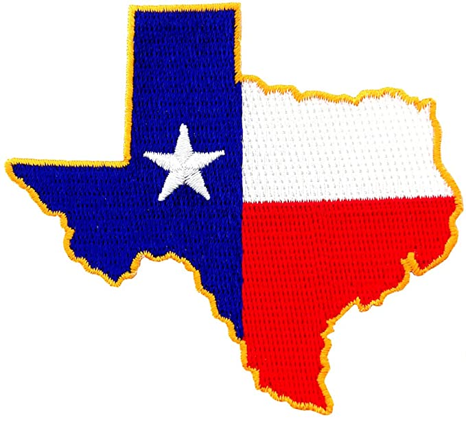 Amazon Texas Shape Flag Embroidered Patch Lone Star State Iron