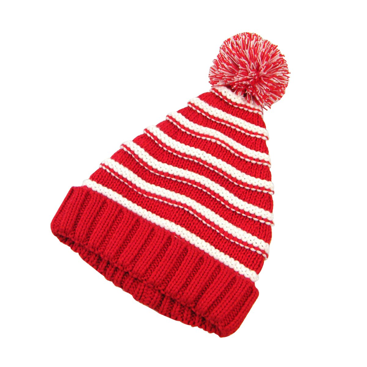 Classic Warm Adorable Kids Striped Knit Winter Pom Pom Hat Beanie Hats for Christmas S Red /& White