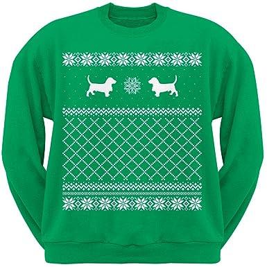 Amazoncom Basset Hound Green Adult Ugly Christmas Sweater Crew