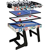 HLC 4 in 1 Multi Sports Game Table Combo Table- Pool Table/ Air Hockey /Mini Table Tennis Table/ Football Table With folding Legs, 4 Ft