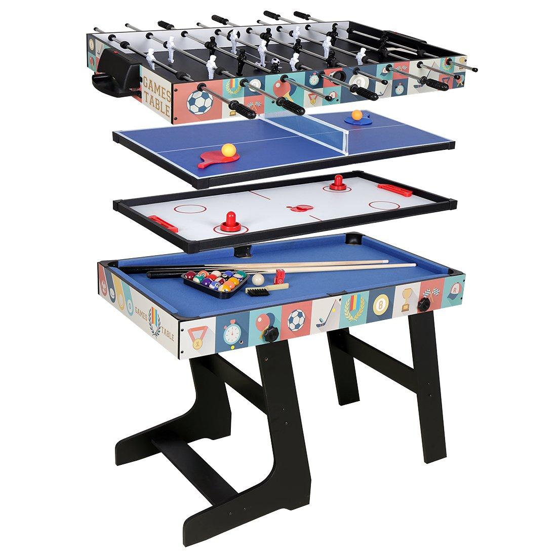 HLC Mesa multijuegos 4 en 1, mesa de billar, tenis de mesa, hockey y futbolín, con patas plegables