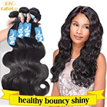 KBL 100% Virgin Human Hair Extensions - Brazilian Body Wave - 3 Bundles w/ Free Gift, 300 Grams Total