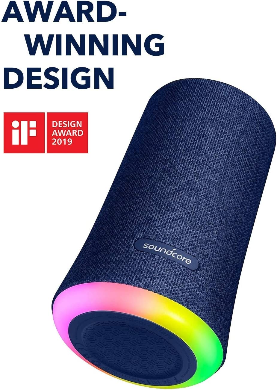 Enhanced Bass IP67 Dustproof /& Waterproof Bluetooth Speaker Renewed Ambient LED Light Portable Party Speaker with 360/° Sound Soundcore Flare Wireless Speaker by Anker and 12H Battery Life/—Blue