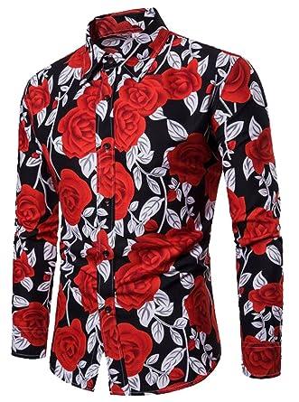 Jofemuho Men Casual Button Up Regular Fit Long Sleeve Floral Print Fall /& Winter Vintage Dress Work Shirt