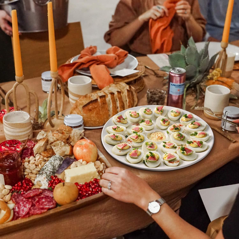 Giallo Flexzion Vassoio di Ceramica per 12 Uova Portauova in Porcellana Uova Sode per Frigorifero Frigo Pasqua Piatto di Servizio Decorazioni Tavola Centrotavola Bancone Esposizione Cucina Casa