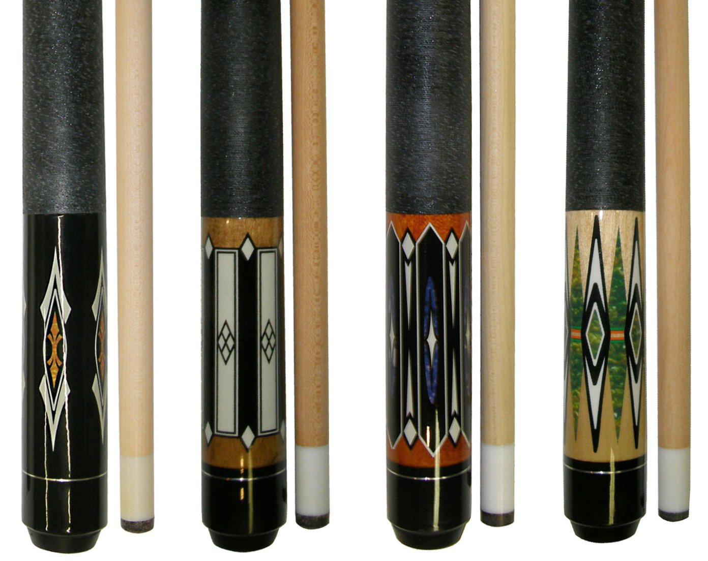 Lot of 4-58'' 2 Piece Hardwood Canadian Maple Pool Cue Billiard Table Stick 18-21 Oz with Steel Joint (set2)