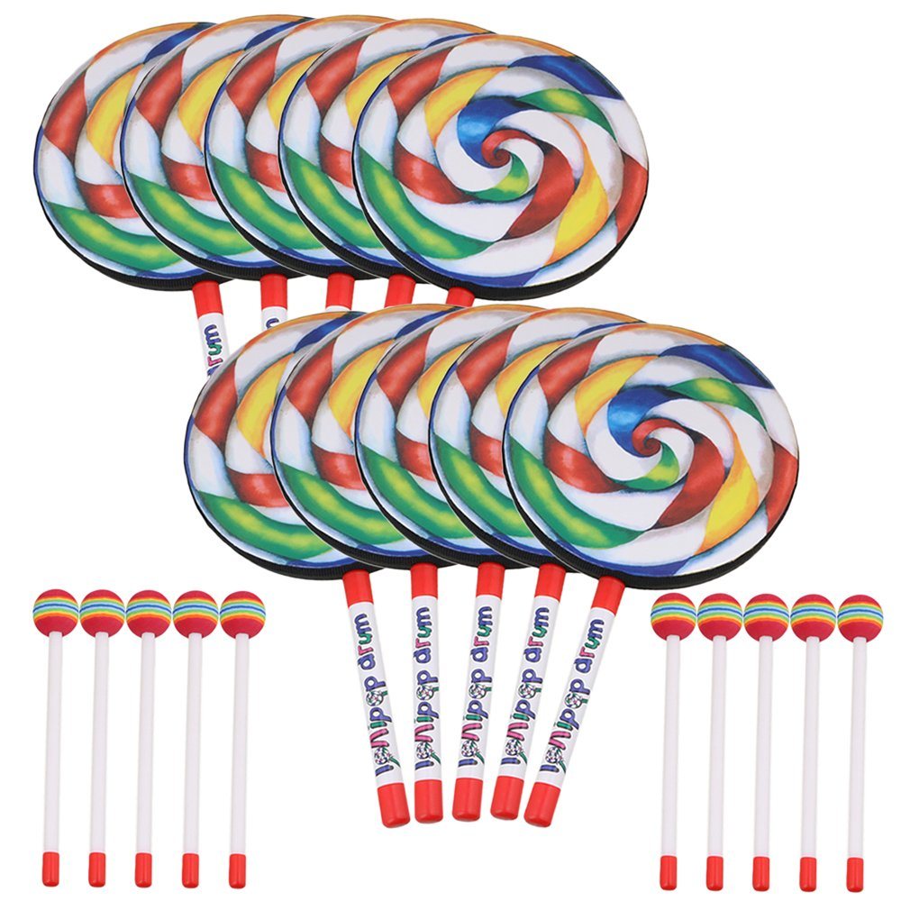 Likemusic 10個入 ドラム ロリポップ形状 マレット 子供用 音楽おもちゃ ギフト 楽しむ プラスチック製 虹色 直径20cm 10個入  B07GB2VV54