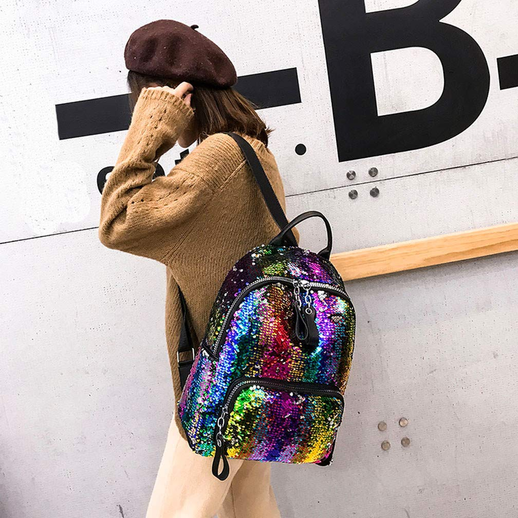 Ni/ñas Lentejuelas Mochila Ni/ños Mini Bolsa Rainbow Flip Lentejuelas Mochila Casual Mochila Escolar Satchel Ligero para ni/ños peque/ños Adolescentes Sirena Arco Iris