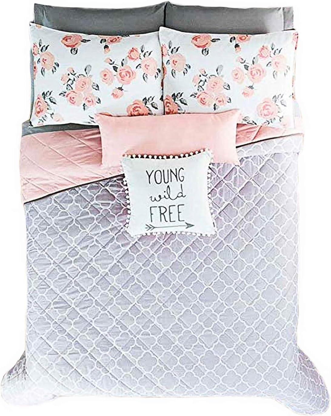 NEW FREE GRAY//PINK TEENS GIRLS Reversible Comforter SET 5 PCS QUEEN//FULL SIZE