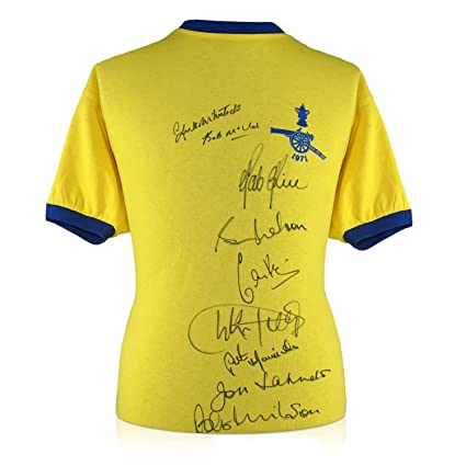 Arsenal 1971 FA Cup Winners Multi Signed Soccer Jersey  5d6cb161d