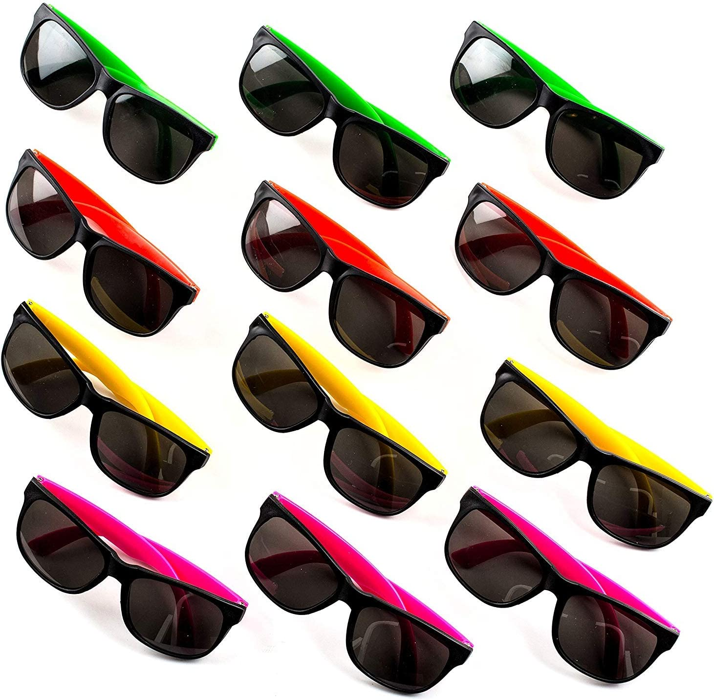 24 Neon Sunglasses For Kids and Adults Bulk Party Favors for Kid Goody Bag Fillers Stocking Stuffers Bulk Party Pack of 2 Dozen by Neliblu