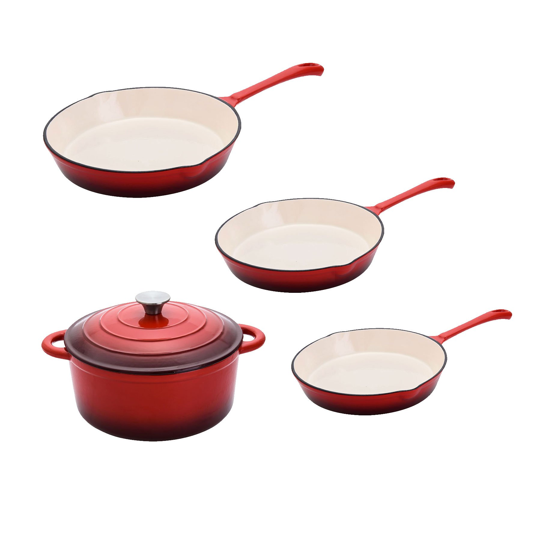 Hamilton Beach Covered Dutch Oven Pot and 3 Assorted Size Cast Iron Fry Pans Set