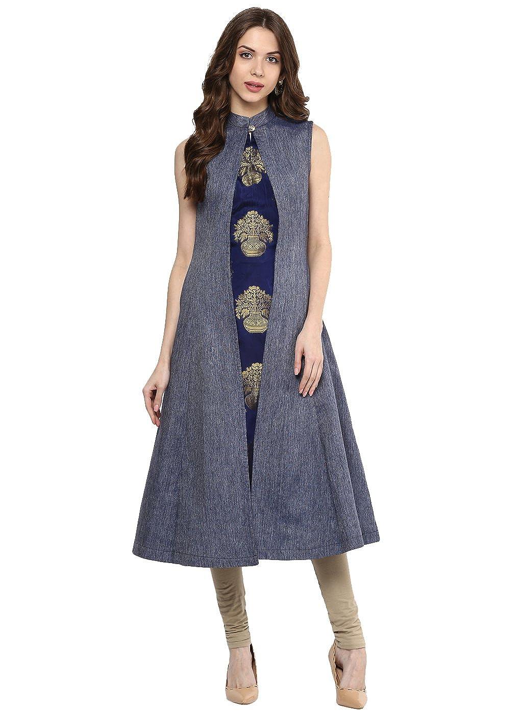 Aahwan Blue Denim and Taffeta Silk A-line Long Kurti for Women Under Flower Pot Design (B001)