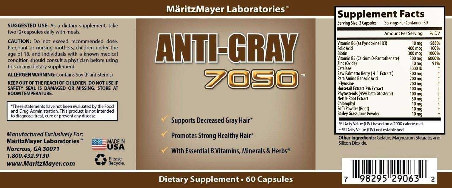 Anti-Gray Hair 7050 Helps Restore Natural Hair Color 60 Capsules Per Bottle 6 Bottles by MÄRITZMAYER LABORATORIES
