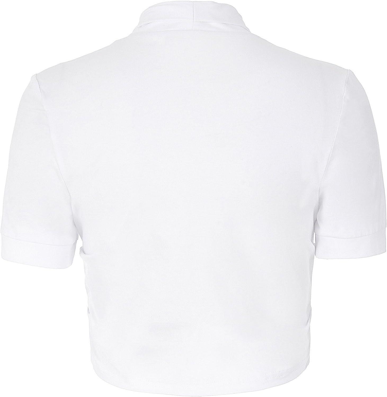 Coprispalle Bolero Danna Cotone a Maniche Corte Design Lati pieghettati Frontale Aperto Bianco L bp215-2