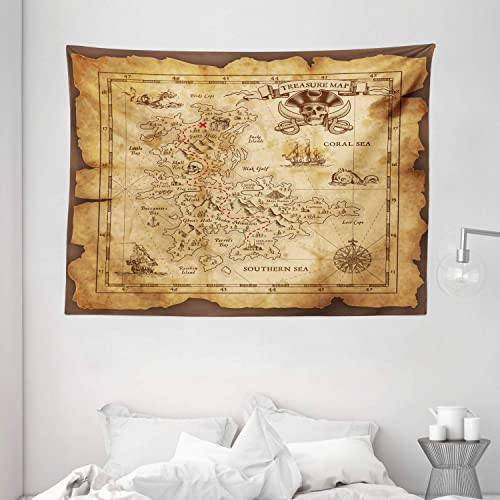 Ambesonne Island Map Tapestry, Super Detailed Treasure Map Grungy Rustic Pirates Gold Secret Sea History Theme, Wide Wall Hanging for Bedroom Living Room Dorm, 80 X 60 , Brown Beige