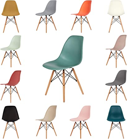 Wooden Legs Eiffel Office Dining Round Table and Chairs Retro Plastic Home Chair