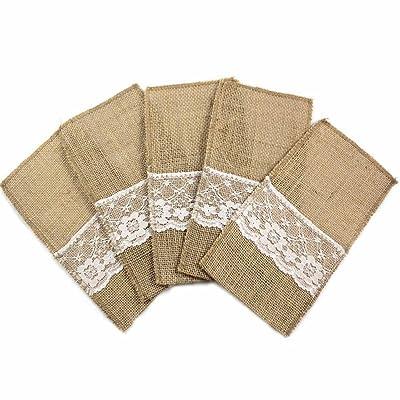 10pcs vintage de Caxmtu 4x 8cm en toile de jute, toile à sac, mariage en dentelle, pochette de vaisselle en dentelle, support des Couverts et de décoration.