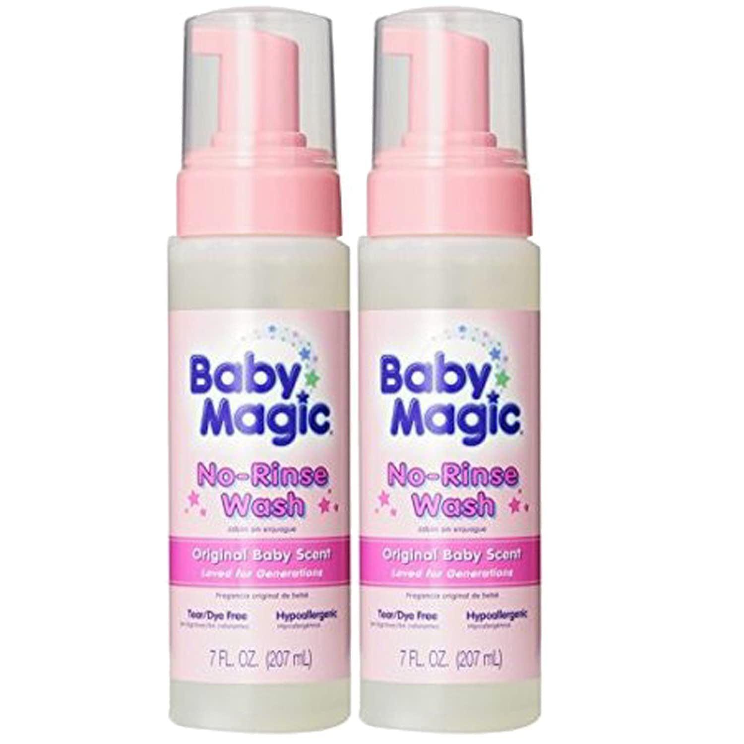 Baby Magic No-Rinse Wash, Original Baby Scent, 7 Ounces, 2-Pack