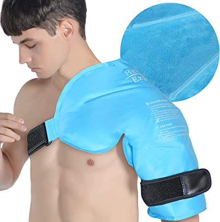 Relief Expert XL Shoulder Ice Pack Rotator Cuff Cold Therapy for Injuries Reusable Gel Cold Pack Wrap with Cold Compression Shoulder, Arm, Instant Pain Relief for Bursitis, Swelling - Soft Plush