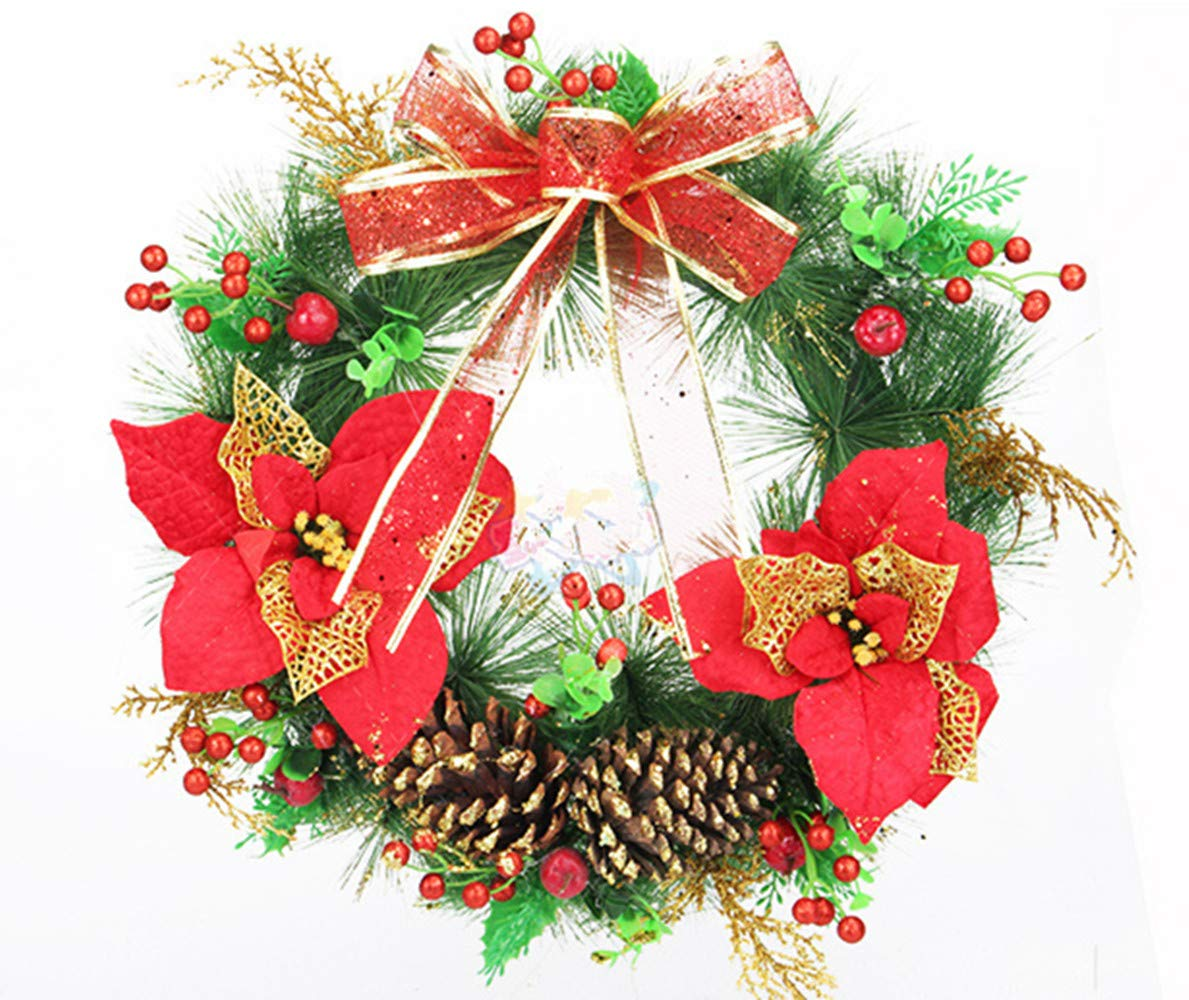 homeyusa Christmas Decorative Wreath Indoor Outdoor Christmas Wreath Ornaments (Color3)