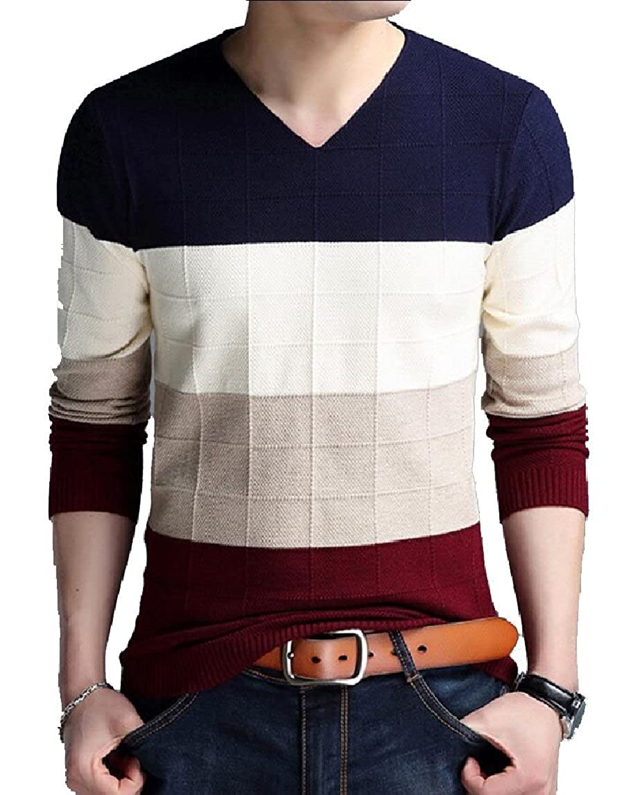 Yayu Mens Color Block Long Sleeve V-Neck Knitwear Pullover Sweater