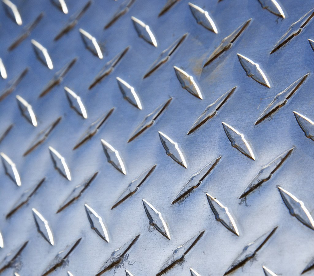 ".063/"" x 24/"" x 24/"" Alloy 3003 Aluminum 5-Bar Diamond Plate"