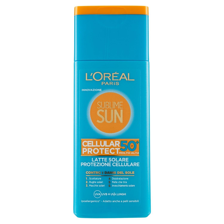 L'Oréal Paris Crema Solare Sublime Sun Cellular Protect, Protezione Solare Molto Alta IP50+ per Pelli Sensibili, 200 ml A8280900