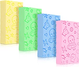 4 Pieces Exfoliating Sponge Bath Sponge Soft Shower Sponge Body Cleaning Sponge for Bathroom Body Cleansing Supplies